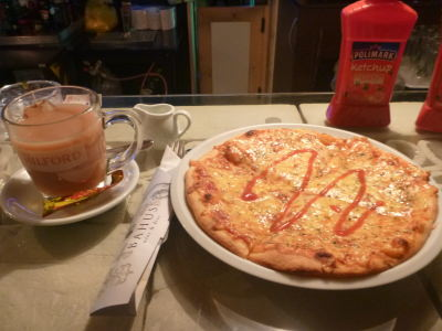 Tea and pizza in Podgorica, Montenegro.