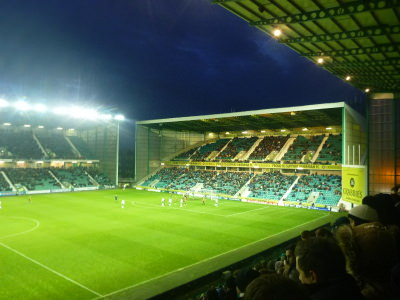 Watching Hibernian at Easter Road.