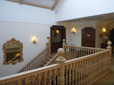 Interior stairway at Doxford Hall Hotel and Spa.