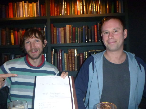 Jonny Blair and Paddy Campbell with the stolen exam paper, 20 years down the line.