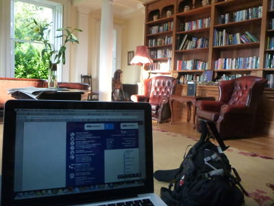 Blogging in the library.