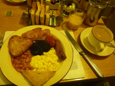 Full North East England Breakfast with a good old cup of tea.