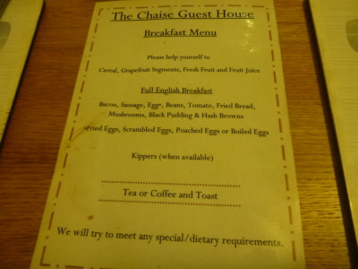 Breakfast menu at the Chaise.