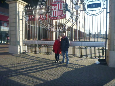 Clare and I at the gates to the Stadium of Light.
