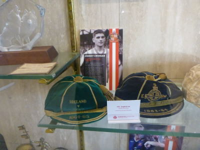 Johnny Crossan's Northern Ireland caps at the Stadium of Light.