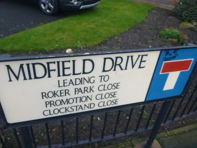 Streets where Roker Park once stood - all named after football related things.