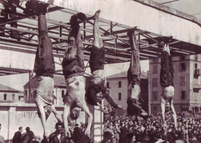 Mussolini hangs from a butcher's hook.