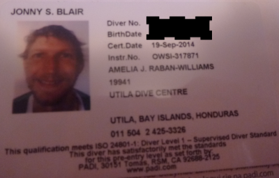 My PADI diving licence from Utila, Honduras.