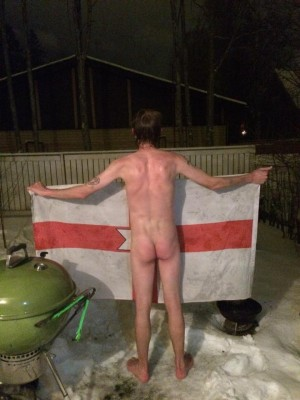 Northern Ireland flag and the naked snow dive in Jarvenpaa.