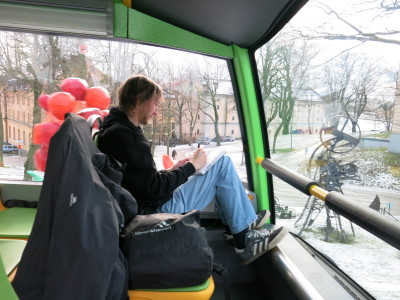 On the hop on hop off Green Bus Tour