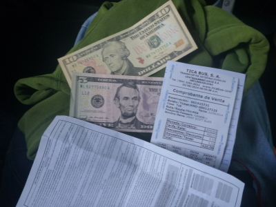 Money and documents ready to leave Honduras.