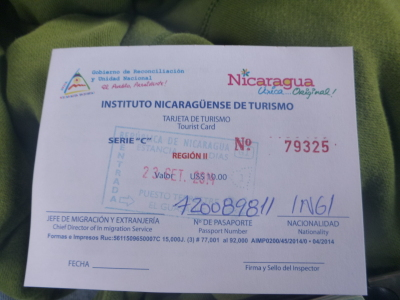 Tourist card for Nicaragua - front.