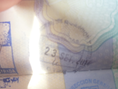 Exit stamp for Honduras at El Guasaule.
