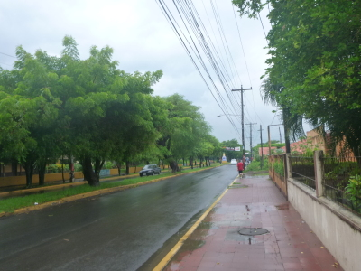 A wet arrival in Leon, Nicaragua.