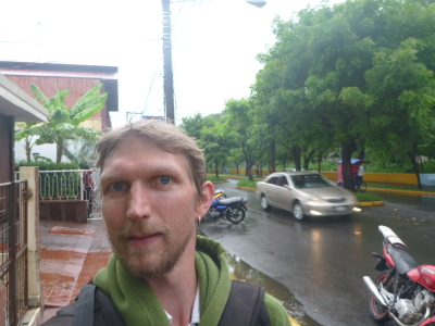 Walking through Leon to my hostel.