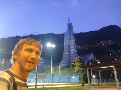 Backpacking in Andorra: Nightfall in gorgeous Escaldes Engordany