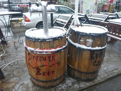 Kegs of ice cold dracula blood beer.