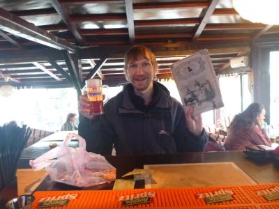 Enjoying my dracula beer in Bran, Transylvania, Romania.