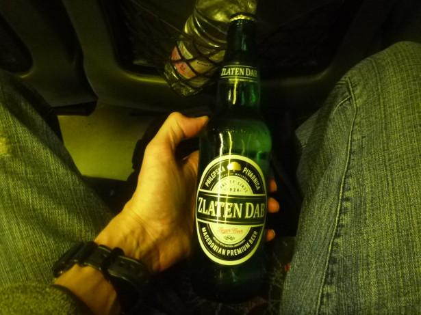 Enjoying my Northern Macedonian beer on board.