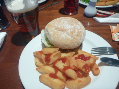 Burger chips and a pint in Sunderland.