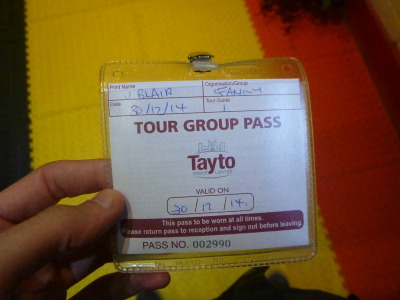 With my visitor badge.