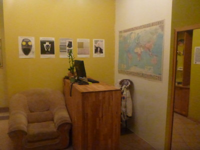 Reception and information point in Monk's Bunk Hostel, Kaunas.