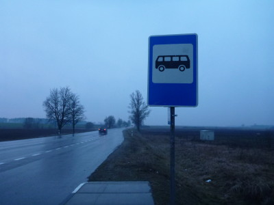 The bus stop back to Siauliai from Domantai