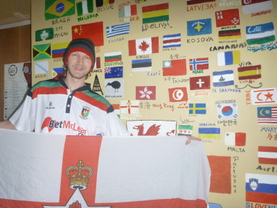With my Northern Ireland flag at the wall.