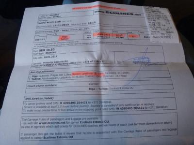 My Ecolines ticket from Riga to Tallinn in Estonia.