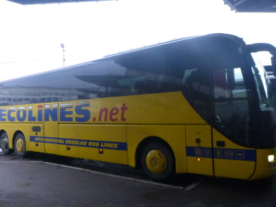 Ecolines bus from Riga, Latvia to Tallinn, Estonia.