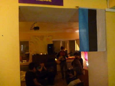 Live music night in Euphoria Hostel, Tallinn, Estonia.