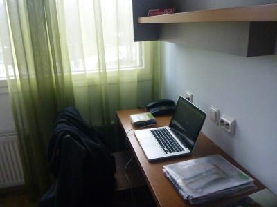My work desk in the Hotel Shnelli, Tallinn, Estonia