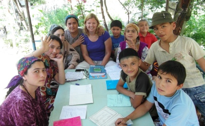 World Travellers: Katie Aune with her host family in Shing, Tajikistan.