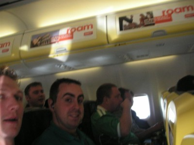 On the flight to Riga with Tim in 2007