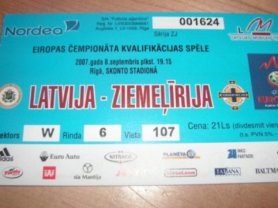 My match ticket for Latvia v. Northern Ireland