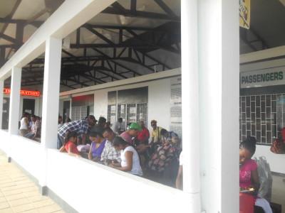 Queue to leave Guyana at Moleson Creek