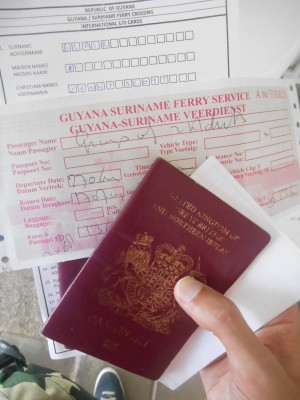 Passport, ferry ticket and immigration forms
