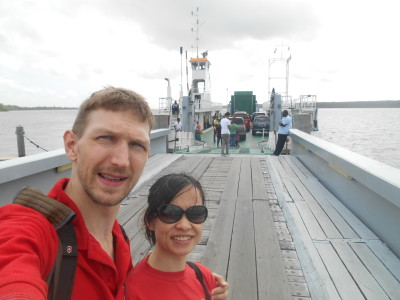 Walking along the ramp onto the ferry