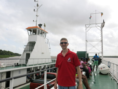 Chilling out on the ferry from Guyana to Suriname.