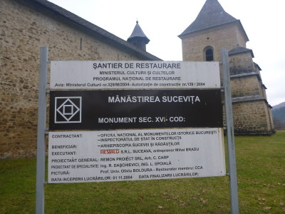 Sign at the entrance to Sucevita