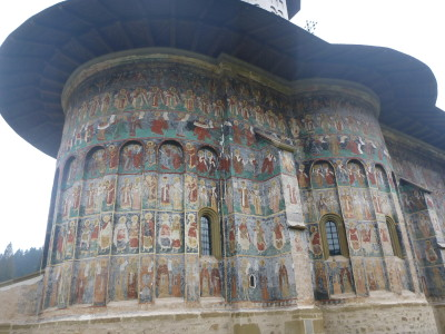 Incredible detailed murals on the outside of the main church in Sucevita