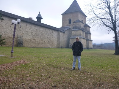 Touring the outer walls at Sucevita Monastery in Southern Bucovina, Romania