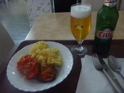 Cheap meal and beer in Brasovina, Brasov, Romania.