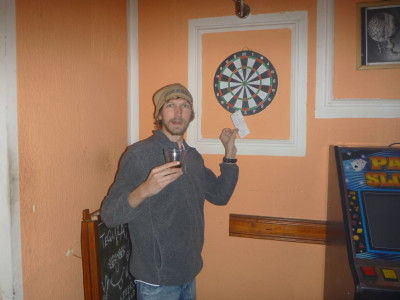 I won the darts competition down the pub in Kotor