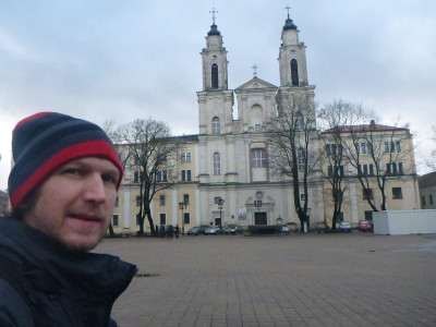 Old Town Square in Kaunas, Lithuania.