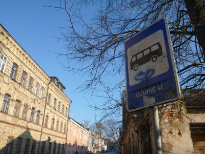 A bus stop Uzupis Gatve