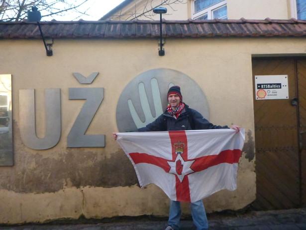 Flying the Northern Ireland flag in Uzupis