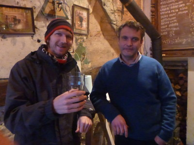 Having a drink with Paulius the pub owner of Spunka in Uzupis
