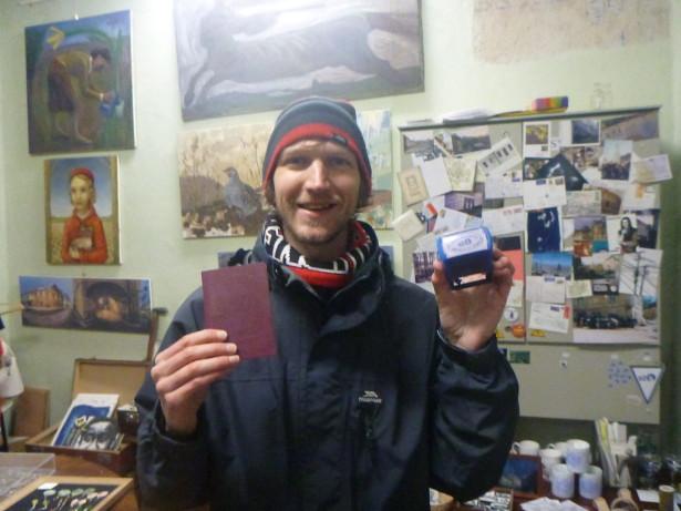 Getting my passport stamped in Uzupis