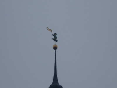 The statue at the top of the Town Hall is meant to be lucky for the town